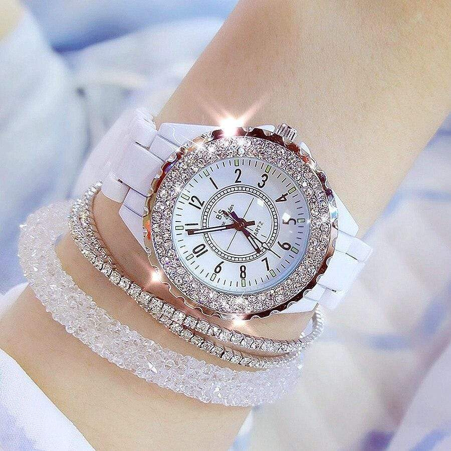 2019 BS bee sister Women Watch Luxury Wristwatch White Ceramic Fashion Ladies Quartz Watch Reloj Mujer Feminino Relogio Saati - SSStyleN.com