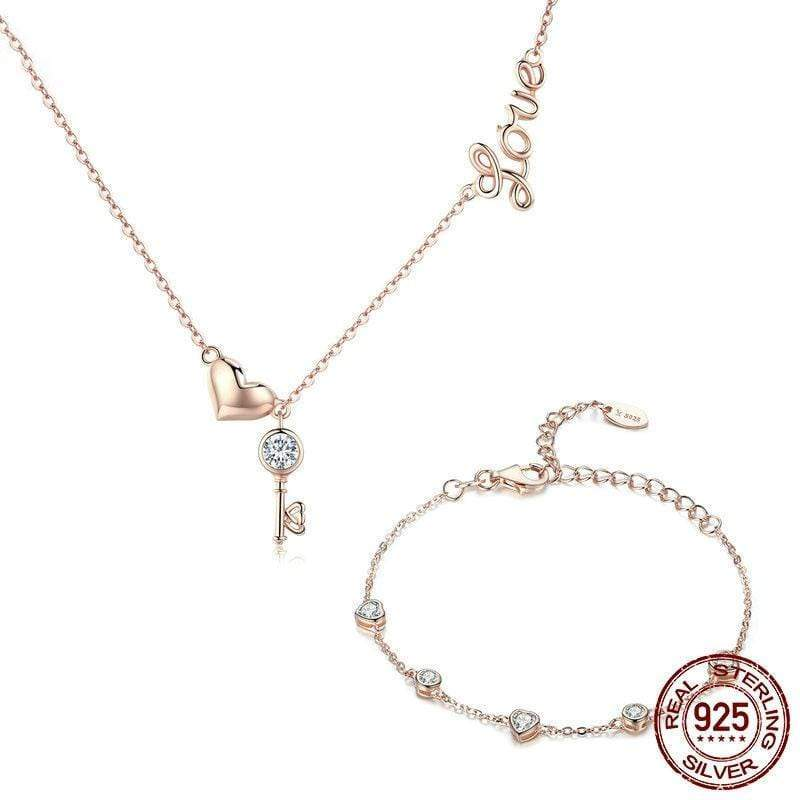925 Sterling Silver Key Lock of Love Gold Color Necklaces Bracelets Jewelry Sets Wedding Authentic Silver Jewelry Set - SSStyleN.com