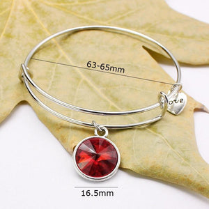 Birthstone Bangle Bracelets For Women Gifts Adjustable Expandable Crystal Charms Bracelet Luxury Love Heart Jewelry - SSStyleN.com