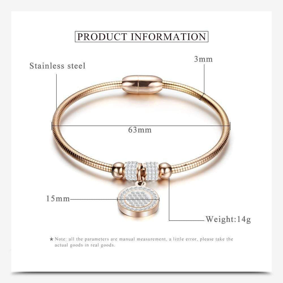High Crystal Quality Bracelet Bangles Coin Magnet Clasp With Snake Chain 316L Stainless Steel Wedding Bangles jewelry - SSStyleN.com