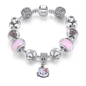 925 Silver Kitty Cat Charm Bracelet Fit Original Bracelet Bangle Murano Glass Beads Bracelet for Women Girls Kids DIY Jewelry - SSStyleN.com