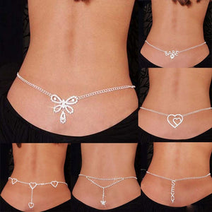 Sexy Glittery Silver Rhinestone Crystal Body Chain Belly Waist Lower Back Chain Belly Chain For Belly Dance Summer Jewelry - SSStyleN.com