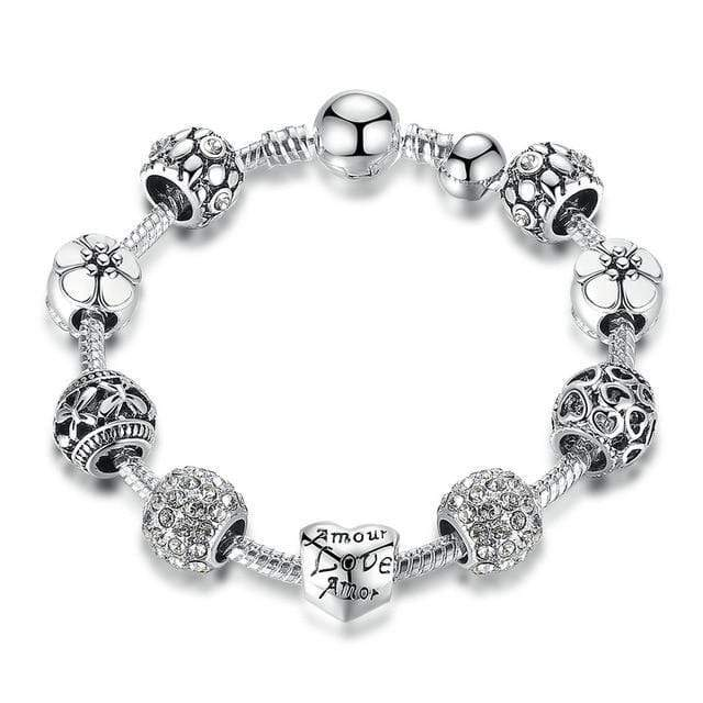 Silver Charm Bracelet & Bangle with Love and Flower Beads Women Wedding Jewelry - SSStyleN.com