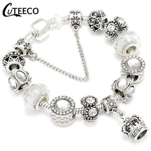 Silver Charms Bracelet Bangle For Women Crystal Flower Beads Fit Brand Bracelets Jewelry - SSStyleN.com