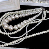 Women's Long Layered Chains / Pearl Strand / Long Necklace Multilayer, Normal Length White Fashionable Necklaces Jewelry - SSStyleN.com
