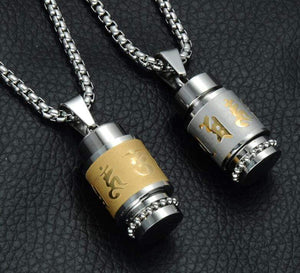 Two Tone Rotatable Mantra Men Pendant & Necklace Prayer OM MANI PADME HUM Stainless Steel Necklaces - SSStyleN.com