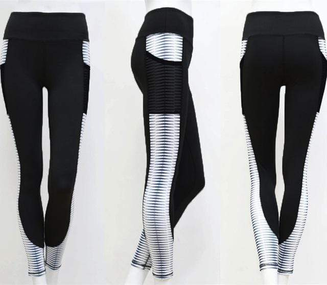 Pocket High Waist Leggings Women Fitness Workout Activewear Printing Trouser Fashion Patchwork Push Up Female Leggings - SSStyleN.com