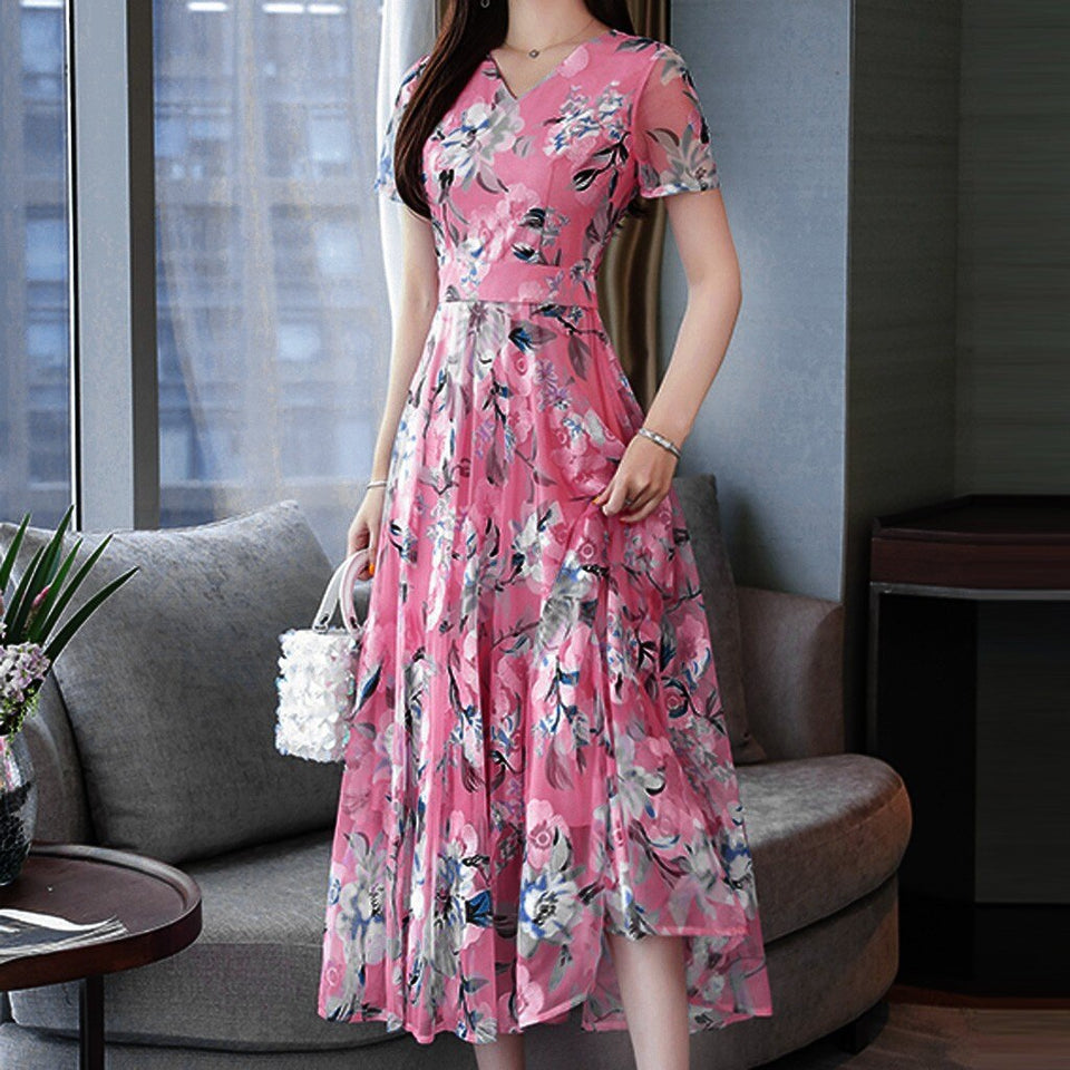 Plus size dresses for women - 2020 Fashion Summer V-Neck Short Sleeve Printing Dress long - SSStyleN.com