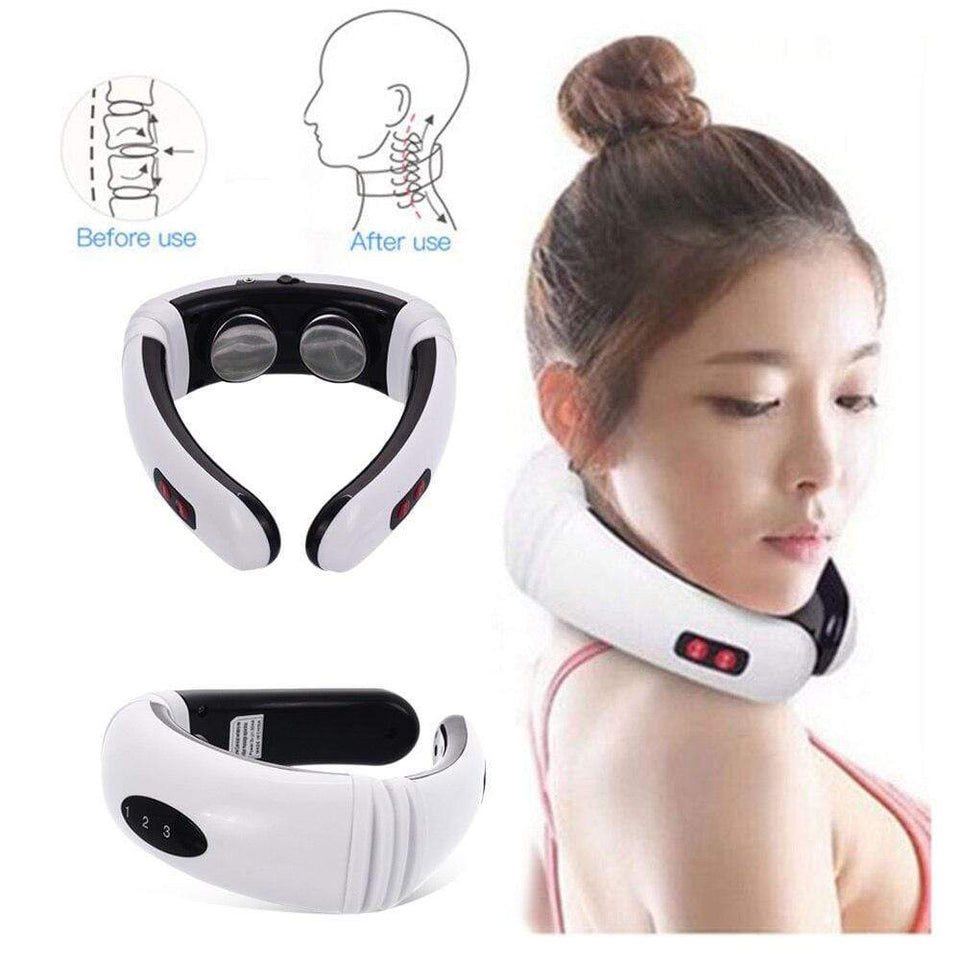 Electric Pulse Back and Neck Massager Far Infrared Heating Pain Relief Health Care Relaxation Tool Intelligent Cervical Massage - SSStyleN.com