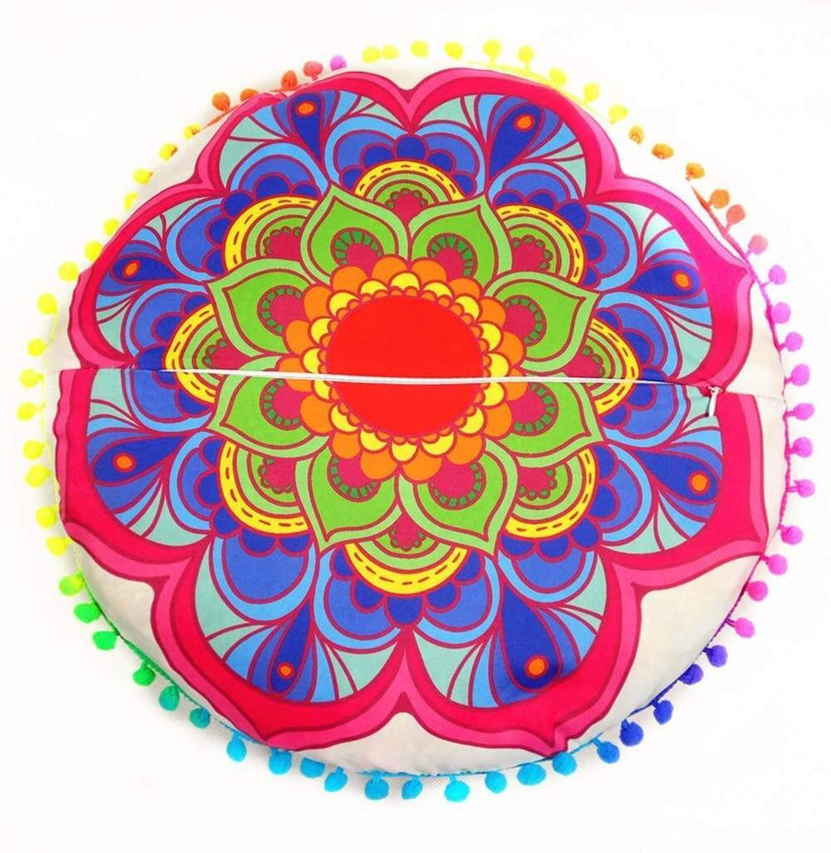 New Design Multicolor Indian Mandala blue flower Floor Pillows Round Bohemian Cushion Cushions Pillows Cover Case #XT - SSStyleN.com