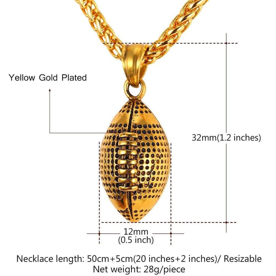 U7 Men Necklace Athlete Sport Fan Gift Jewelry Gold Stainless Steel Workout American Football Fitness Chain & Pendant Ball P917 - SSStyleN.com