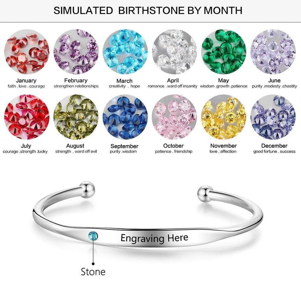 Personalized Engraved Name Bracelets for Women Custom Birthstone ID Bracelets Bangles Stainless Steel Jewelry - SSStyleN.com