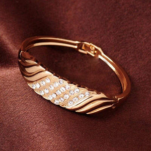 Trendy Gold Color Statement Bangles for Women Fashion CZ Crystal Bangles Wedding Vintage Cuff Bracelet Jewelry - SSStyleN.com