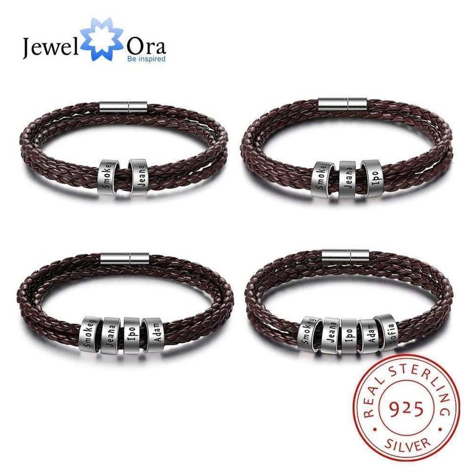 925 Sterling Silver Personalized Men Bracelet with Custom Beads Brown Leather Charms Bracelet Jewelry Gift for Family - SSStyleN.com