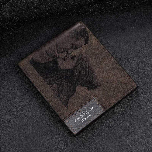 Custom Picture PU Leather Wallet Men's Bifold Custom Inscription Photo Engraved Wallet Thanksgiving Gifts For Him Custom Wallet - SSStyleN.com
