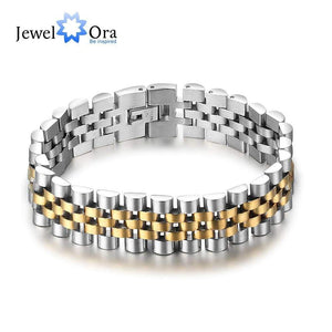 Luxury Gold Color Stainless Steel Bracelet 200mm Wristband Men Jewelry Bracelets Bangles Gift for Him - SSStyleN.com
