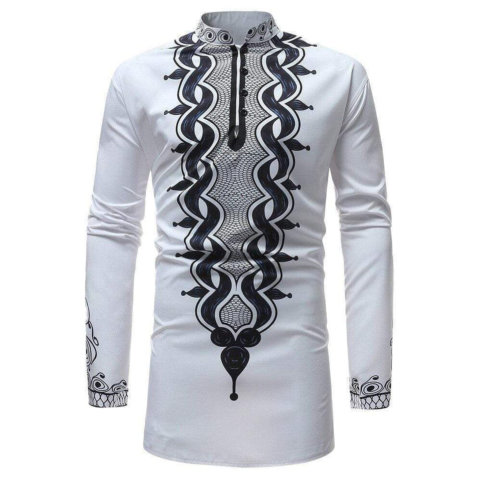 Men Autumn Winter Shirt Luxury African Flower Printed Long Sleeve Dashiki Shirts Men Dress Streetwear Harajuku Shirt Clothing - SSStyleN.com