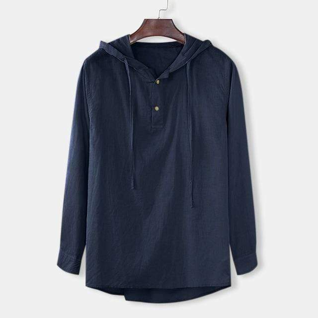 Men's t shirt Baggy Cotton Linen Solid Button Plus Size Long Sleeve Hooded Shirts Tops 2019 Male shirt Men Clothing - SSStyleN.com