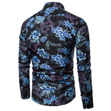 Men Shirt Clothing Long Sleeve Flower Print Mens Dress Shirts Summer New Casual Hawaii Male Shirt camisa masculina - SSStyleN.com