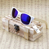 Rectangular Genuine Real Bamboo Wood Polarized Sunglasses With Reflective Mirror Tint - SSStyleN.com