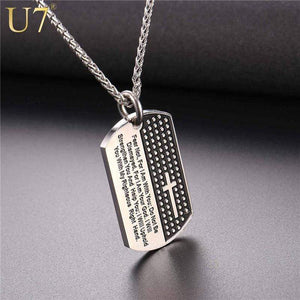 U7 Dog Tag Cross Necklaces & Pendant Gold Color Stainless Steel Chain Bible Verse Christian Jewelry Christmas Gift For Men - SSStyleN.com