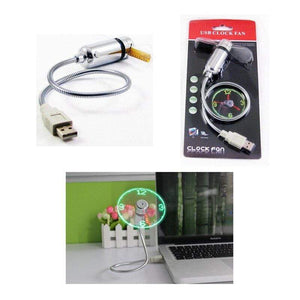 Hand Mini USB Fan portable gadgets Flexible Gooseneck LED Clock Cool For laptop PC Notebook real Time Display durable Adjustable - SSStyleN.com