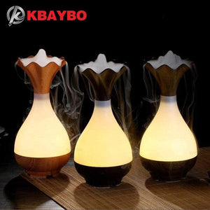 USB Air Humidifier Ultrasonic Aromatherapy Essential Oil diffuser Aroma LED Night Light Atomization Purifier Wood Vase - SSStyleN.com