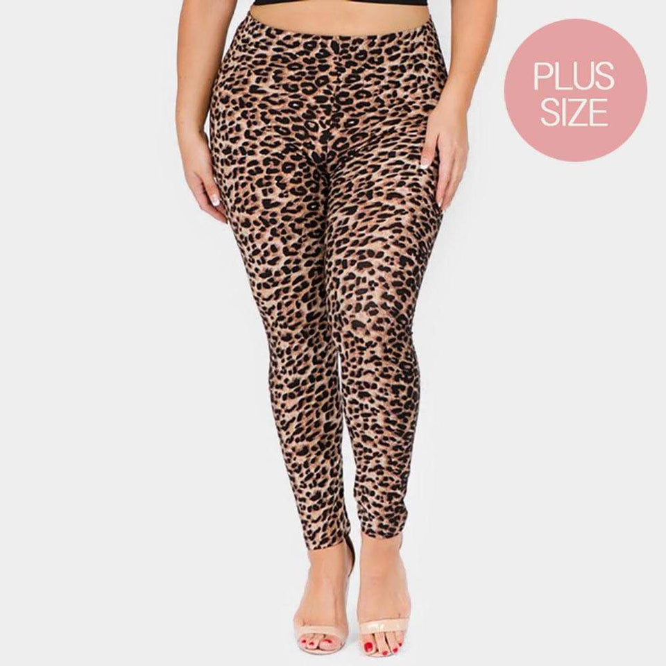 CLASSIC CHEETAH PRINT PLUS SIZE LEGGINGS - SSStyleN.com