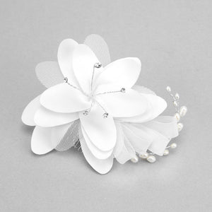 CRYSTAL ROUND PEARL FLORAL MESH HAIR COMB - SSStyleN.com