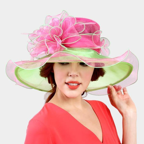 DOUBLE LAYER OMBRE FLOWER ORGANZA HAT - SSStyleN.com