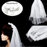 DOUBLE LAYERS BRIDAL VEIL HAIR COMB - SSStyleN.com