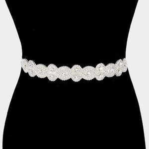 FELT BACK RHINESTONE SASH RIBBON BRIDAL WEDDING BELT / HEADBAND - SSStyleN.com