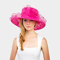 MEDIUM LACE ORGANZA HAT W/ TWO ROSE IN CENTER - SSStyleN.com