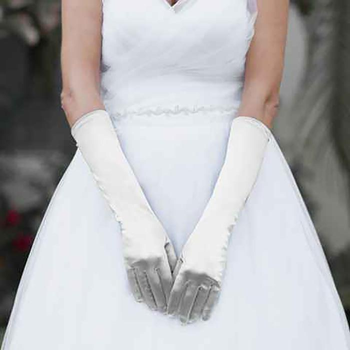 MEDIUM SATIN WEDDING GLOVES - SSStyleN.com