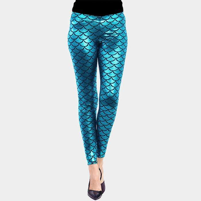 METALLIC MERMAID PATTERN LEGGINGS - SSStyleN.com