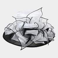 TWO TONE ORGANZA MED BRIM LAYER HAT - SSStyleN.com