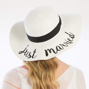 'JUST MARRIED' EMBROIDERY STRAW FLOPPY SUN HAT - SSStyleN.com