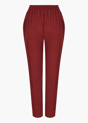 Gold Button Trousers in Deep Rouge by Aab