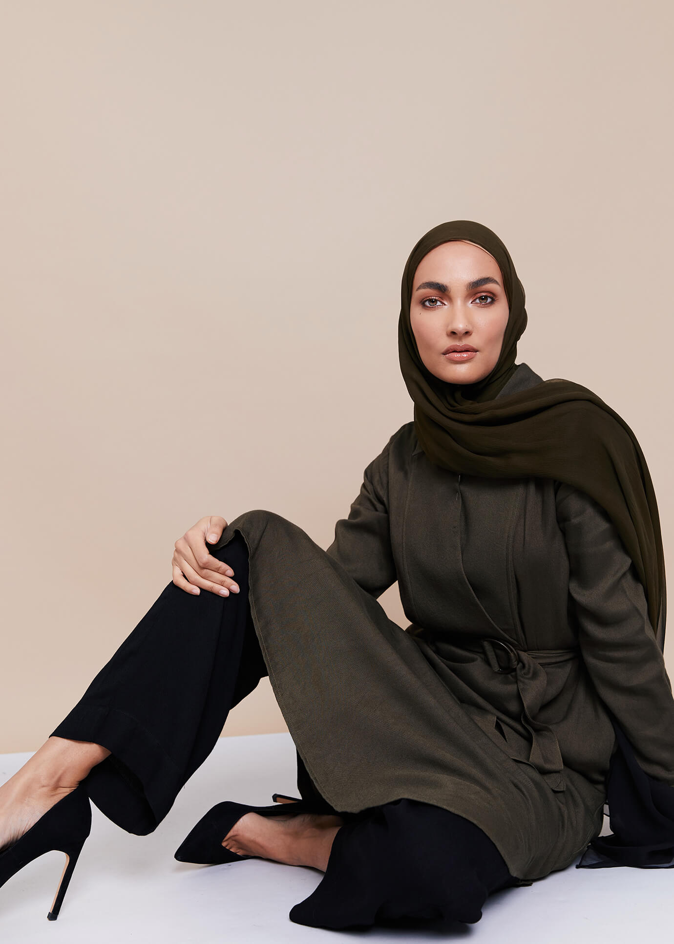 Mid Flare Trousers Olive | Aab Modest Wear - AAB INT