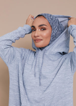 Relaxed Knit Hoody Grey