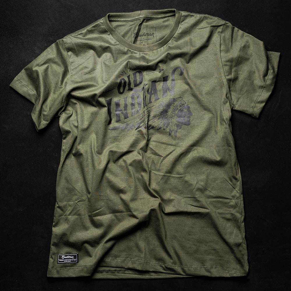 T-SHIRT OLD INDIAN MILITARY - BRAVEMAN LEATHER GOODS