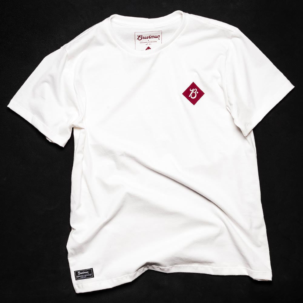 T-SHIRT BRAND WHITE BORDEAUX - BRAVEMAN LEATHER GOODS