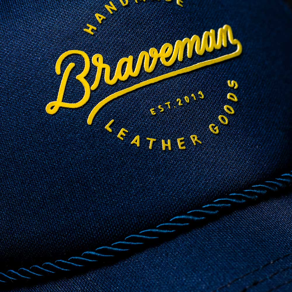 HAT TRUCKER LETTERING BLUE - BRAVEMAN LEATHER GOODS
