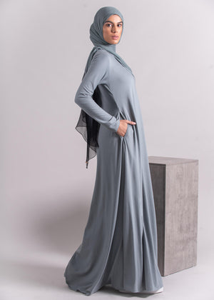 Mulberry Abaya Dusty Blue