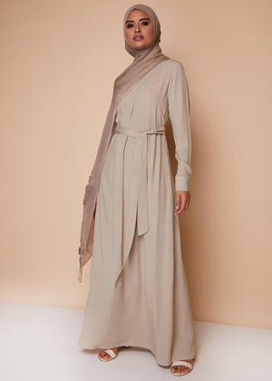 Box Pleat Abaya Stone