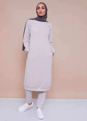 Button Embellished Jumper Dress Stone