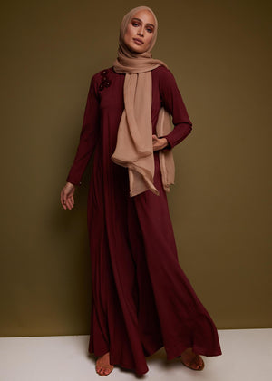 Crochet Flare Abaya in Deep Rouge by Aab