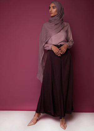 Full Flare Trousers Plum