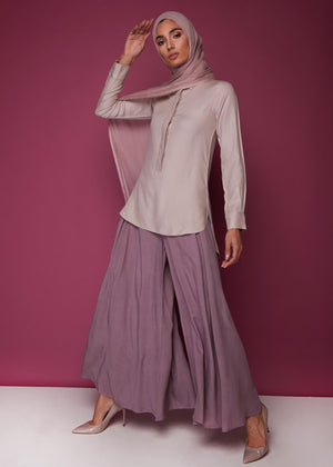 Full Flare Trousers Mauve