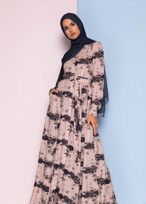Ink Print Maxi Dress Aab